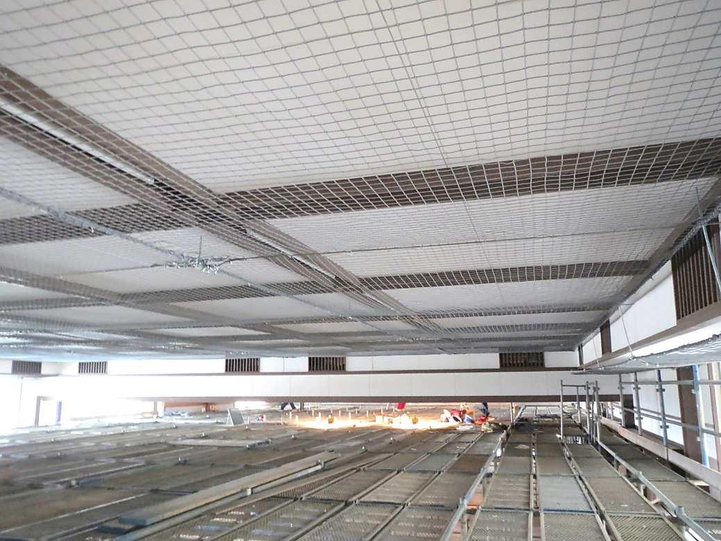 天井防護ネット柵 完了写真