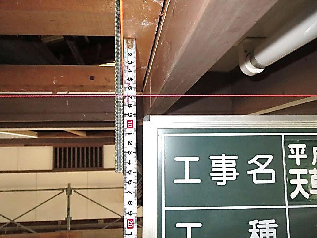 天井防護ネット工 SAIクランプ 吊ボルト 取付状況