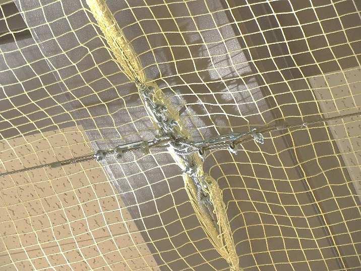 天井防護ネット工 防炎防護ネット Wストッパー部分 E部分