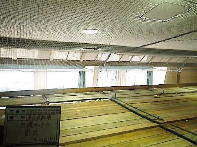 篠山市城北畑小学校体育館 防護ネット設置後